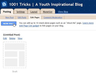 custom pages on blogger